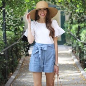 J.Crew High Rise Tie Waist Chambray Summer Shorts